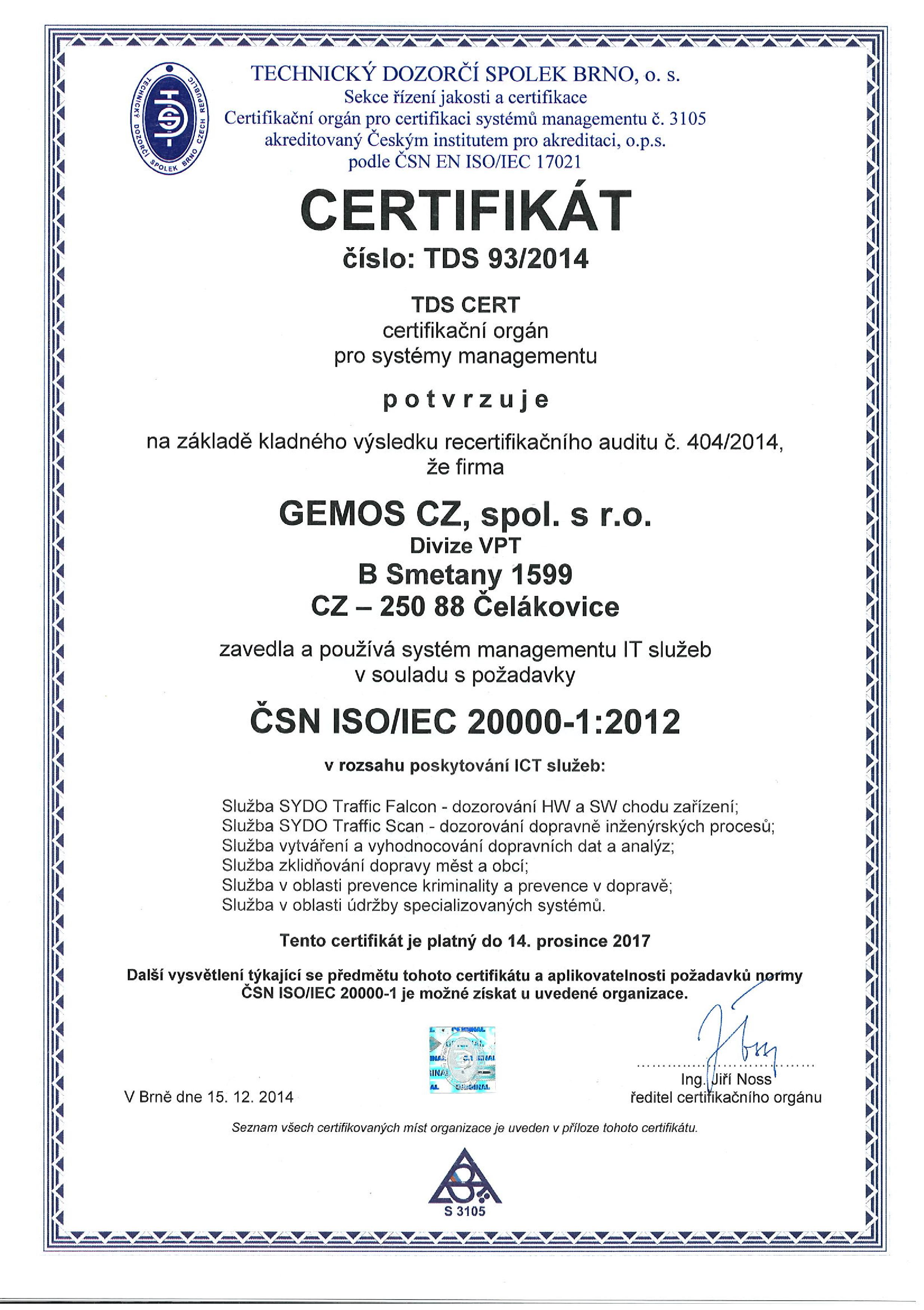Certificate ČSN ISO/IEC 20 000-1 granted to GEMOS CZ company