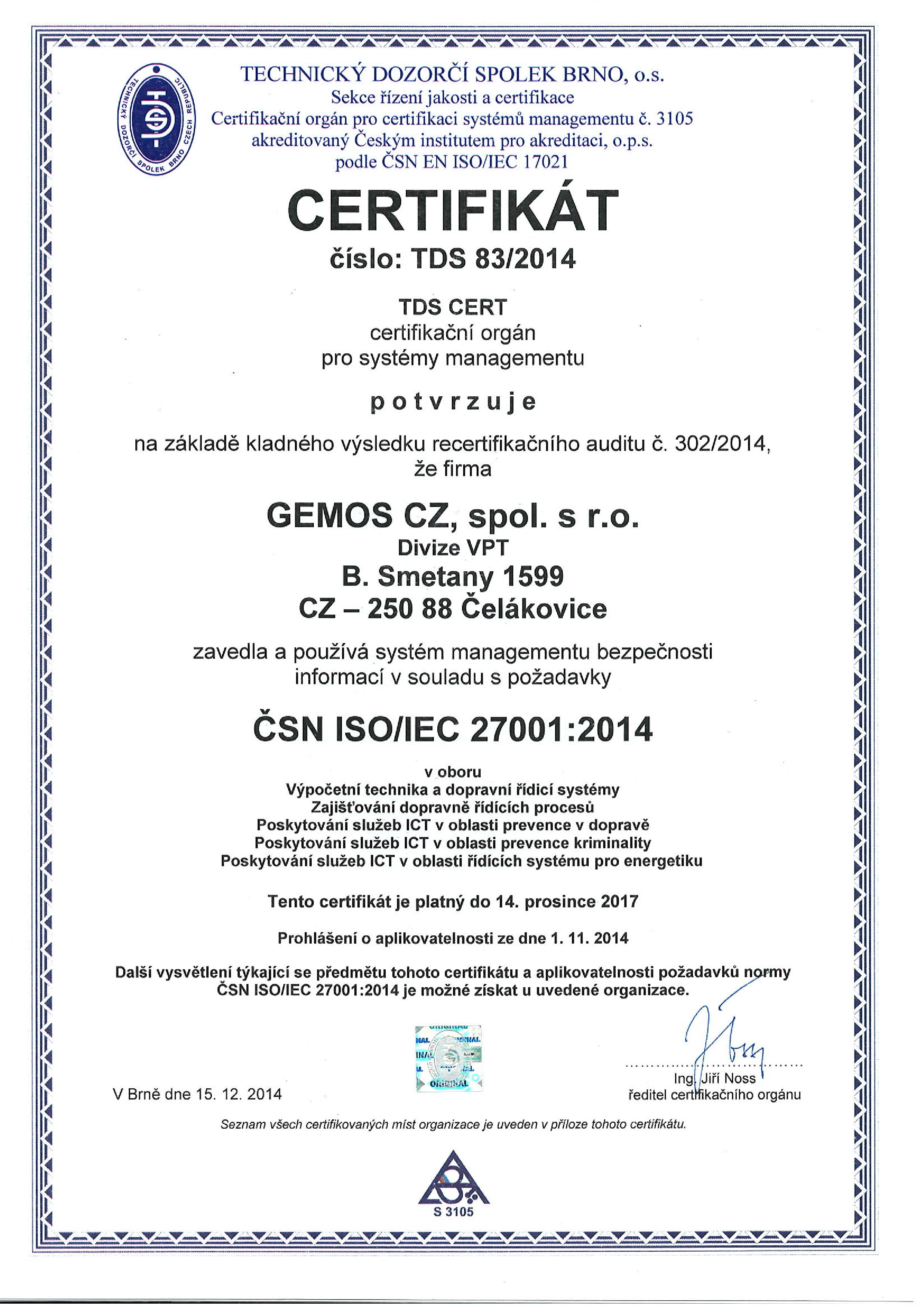 Certificate ČSN ISO/IEC 27001 granted to GEMOS CZ company